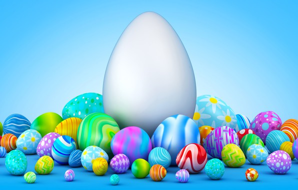 Picture background, holiday, eggs, Easter, small, large, colorful, a bunch, a lot, 3d graphics