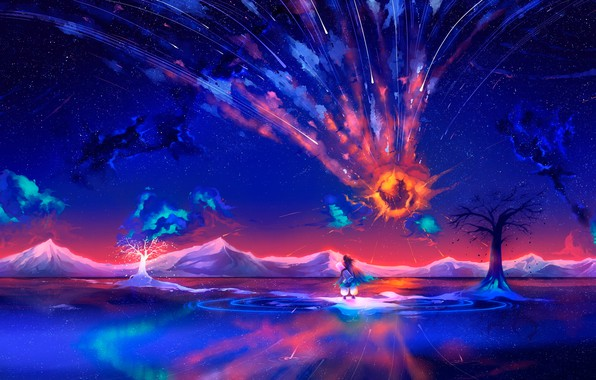 Picture white, water, space, trees, flight, mountains, the explosion, orange, blue, yellow, reflection, lights, tree, fire, …