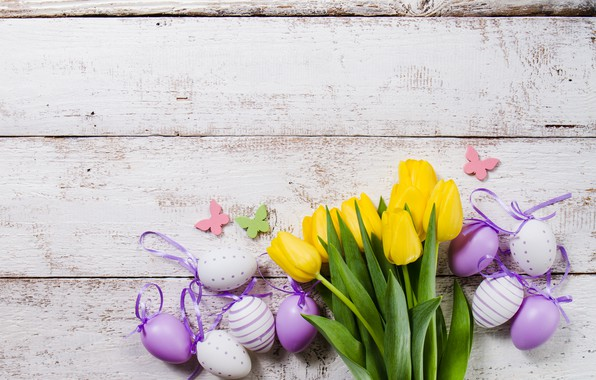 Photo wallpaper flower, yellow, tulips, eggs, easter