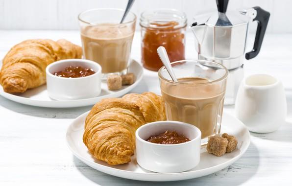 Picture coffee, Breakfast, jam, croissants