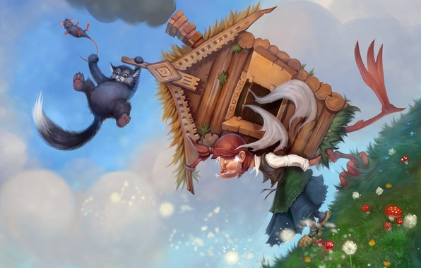 Picture cat, mood, hut, the situation, tale, art, children's, Baba Yaga, Valentin Tyustin, The old lady …