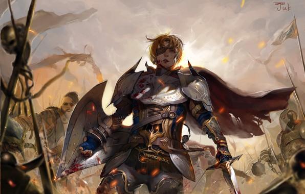 Picture girl, sword, blood, fantasy, soldiers, armor, war, Warrior, dragon, battle, weapons, artwork, shield, fantasy art, …