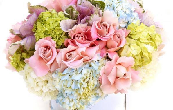 Picture flowers, roses, bouquet, vase, hydrangea