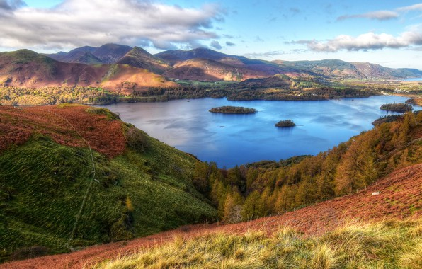 Picture forest, the sky, clouds, trees, mountains, France, HDR, valley, lake, Cumbria