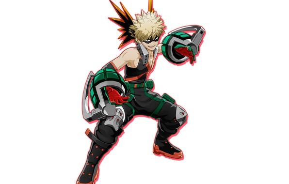 Picture smile, white background, guy, Boku no Hero Academy, Bakugou Katsuki, Boku no Hero Academia: One's …