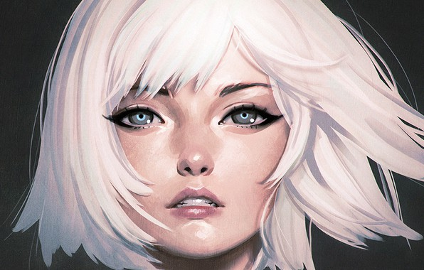 Picture face, haircut, blue eyes, white hair, bangs, portrait of a girl, Ilya Kuvshinov