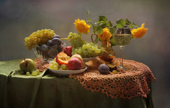 Picture glass, Apple, roses, grapes, fruit, still life, peaches, drain