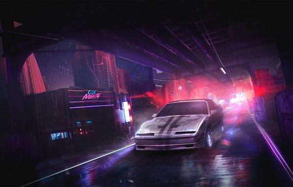 Picture road, auto, light, night, style, club, art, car, Neon
