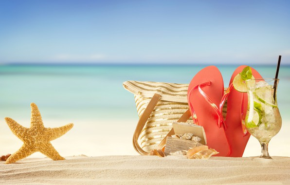 Picture sea, beach, stay, vacation, cocktail, starfish, bag, bitnami
