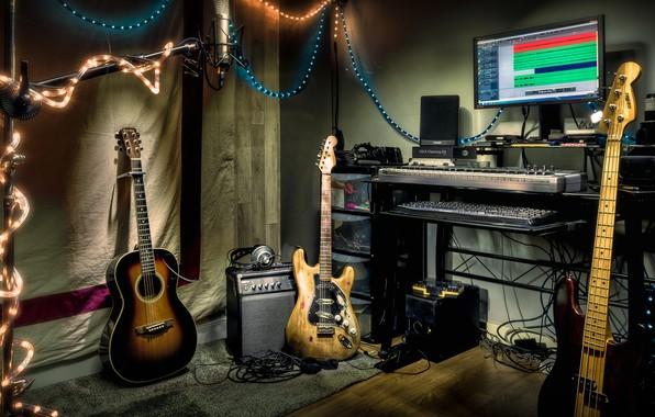 Picture music, guitar, instrumento, Studio