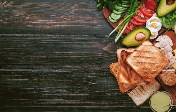 Picture greens, chicken, bread, meat, vegetables, sauce, sandwich, eggs, toast, avocado, sandwiches, tomato, sandwich, chicken, ingredients