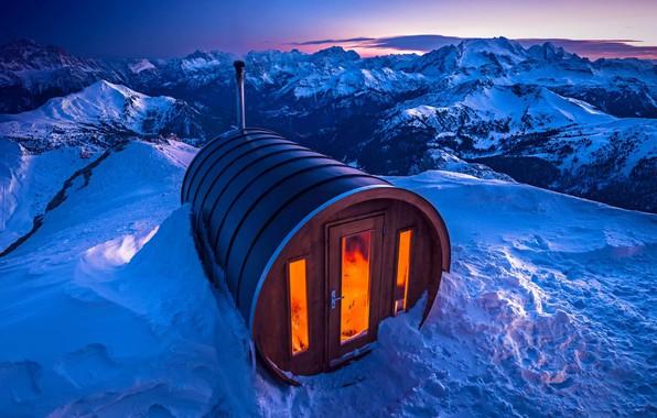 Picture snow, sauna, Italy, The Dolomites, mount Lagazuoi