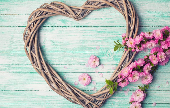 Picture flowers, branches, heart, love, pink, buds, heart, wood, pink, flowers, romantic
