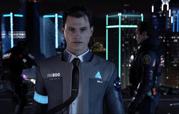 Picture gun, game, soldier, weapon, suit, uniform, tie, seifuku, Detroit: Become Human