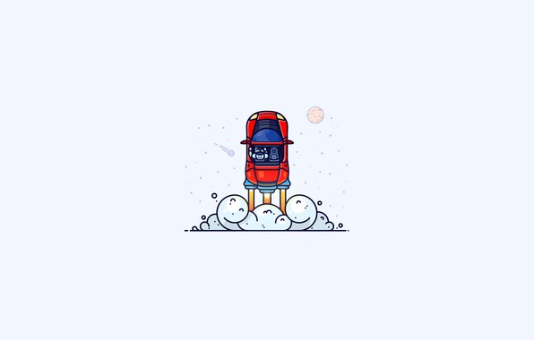Picture space, minimalism, rocket, SpaceX, illustration, humor, simple background, Tesla Roadster, Tesla Motors