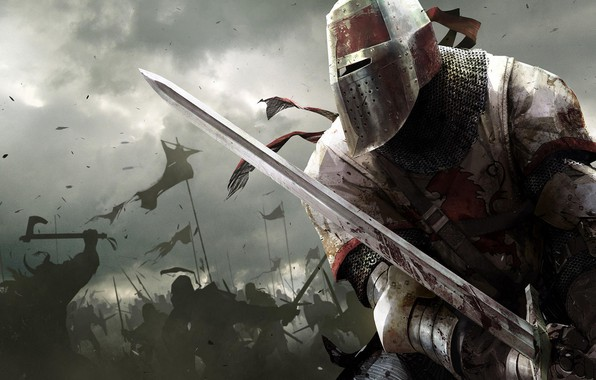 Photo wallpaper the sky, weapons, armor, battle, Warrior, battle, knight