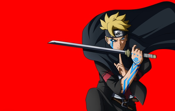 Photo Wallpaper Red Sword Naruto Seal Anime Katana Fight