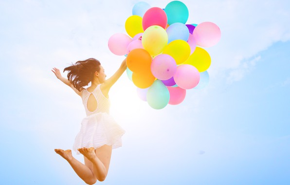 Picture sand, sea, beach, summer, girl, the sun, happiness, balloons, stay, colorful, girl, summer, sunshine, happy, …