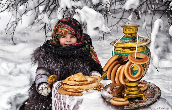 Picture winter, snow, girl, samovar, pancakes, drying, Carnival