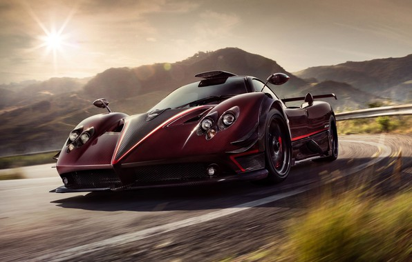 Picture the sun, hills, speed, supercar, Pagani, Zonda, 2017, Ghost Evo