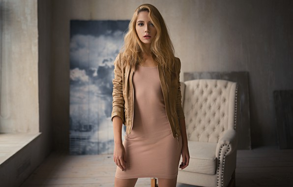 Picture girl, long hair, dress, photo, photographer, model, beauty, lips, face, blonde, portrait, jacket, mouth, leather …