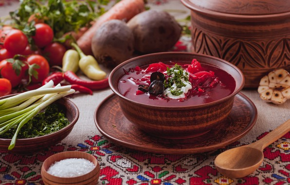 Picture vegetables, the first dish, Borsch