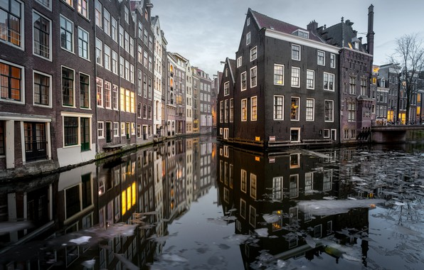 Picture water, the city, home, ice, Amsterdam, channel, Netherlands