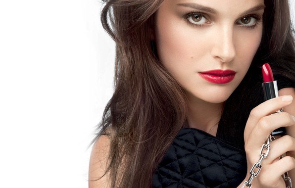 Picture look, face, actress, Natalie Portman, celebrity, red lipstick