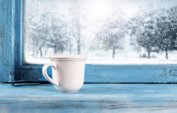Picture cold, winter, snow, window, frost, Cup, winter, snow, cup, window