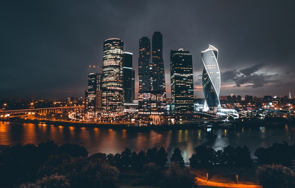 Picture night, the city, lights, Russia, Moscow City