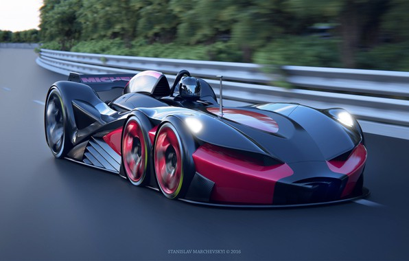 Picture machine, speed, track, art, race, Stanislav Marchevsky, 6 wheels racing car