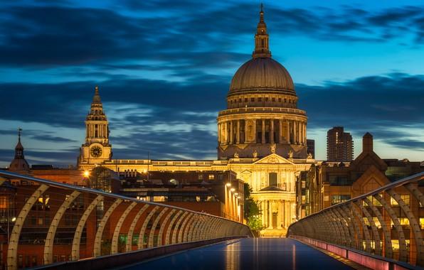 Picture the sky, clouds, bridge, lights, England, London, the evening, Palace, Millennium Bridge