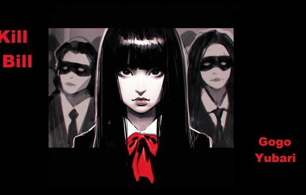 Picture schoolgirl, Kill Bill, killer, art, Kill Bill, mercenary, black mask, evil eye, Ilya Kuvshinov, Gogo …