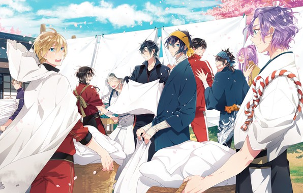 Picture anime, art, guys, characters, Touken Ranbu, Dance of swords