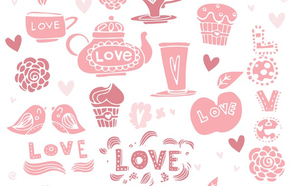 Picture background, the inscription, coffee, texture, love, cupcakes