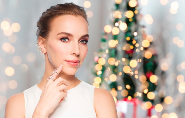 Photo Wallpaper Glare In White New Year Makeup Bokeh Hairstyle