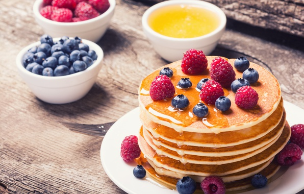 Picture berries, raspberry, blueberries, honey, pancakes, pancakes