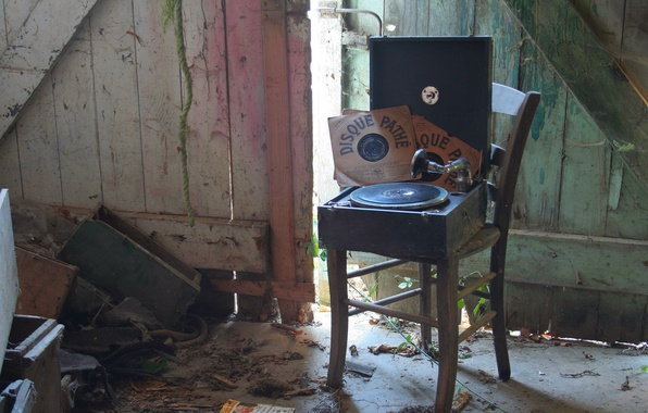 Photo wallpaper chair, vinyl, record player, music, background, records