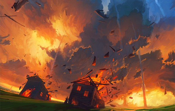 Picture fire, flame, Apocalypse, disaster, chaos, the bombing, meteor shower, wooden houses, the fall of the …