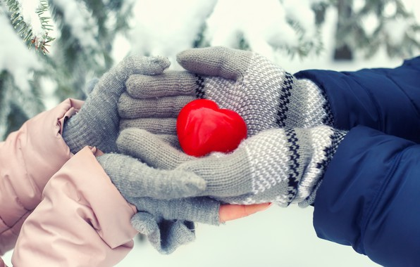 Picture winter, snow, love, heart, love, heart, winter, mittens, snow, romantic, sweet, hands