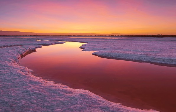 Photo wallpaper nature, river, sunset