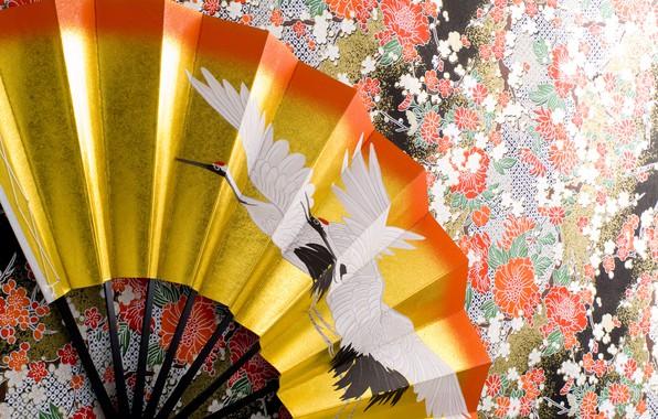Picture surface, wall, pattern, texture, fan, kimono, ornament, crane, wallpaper., beautiful background, Japanese art, tsurukame, common …