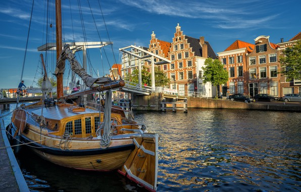 Picture bridge, river, building, home, yacht, Netherlands, Netherlands, North Holland, North Holland, Haarlem, the guy near …