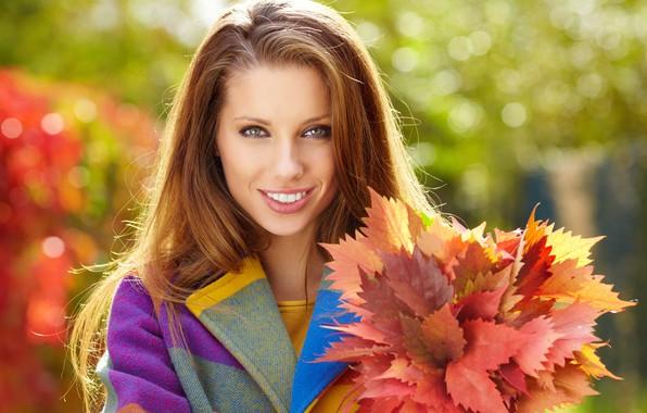 Picture autumn, leaves, the sun, glare, model, portrait, bouquet, makeup, hairstyle, brown hair, beauty, coat, bokeh, …