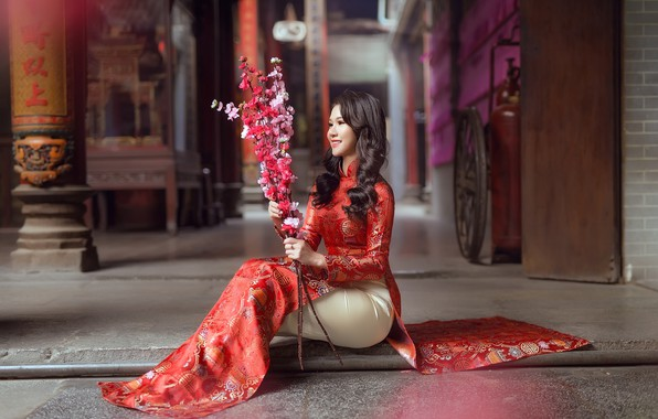 Picture girl, flowers, smile, style, sweetheart, sitting