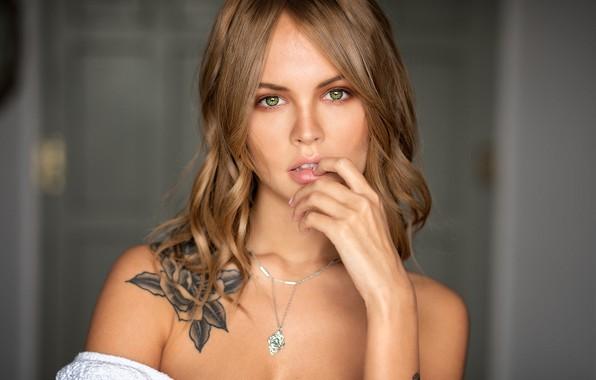 Picture look, background, model, portrait, makeup, tattoo, hairstyle, brown hair, beauty, bokeh, Anastasia Shcheglova, Mark Prinz, …