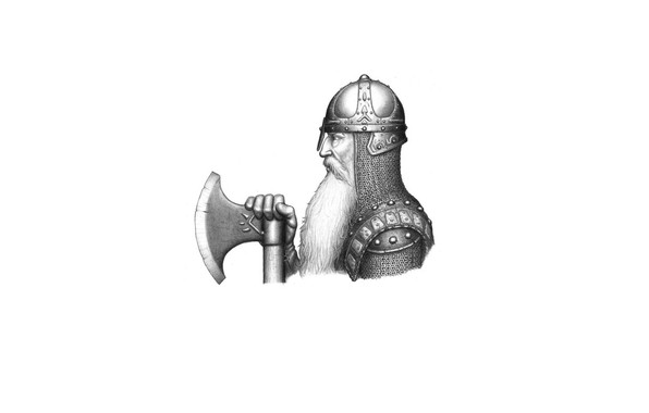 Picture face, armor, warrior, helmet, profile, beard, axe, mail