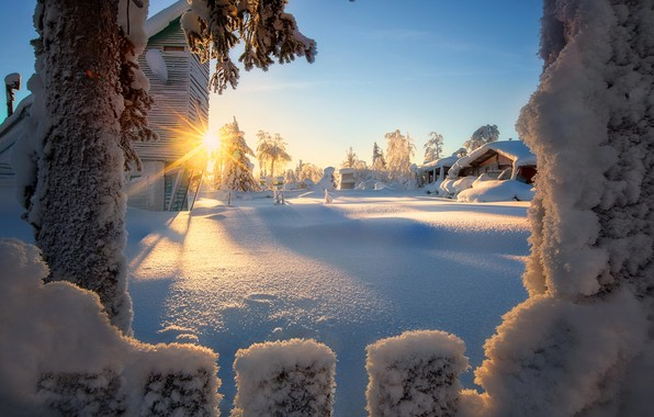 Picture winter, the sun, rays, snow, trees, landscape, nature, the fence, home, Russia
