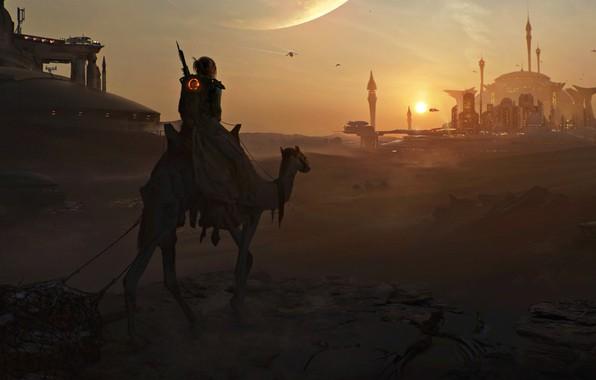 Picture light, fantasy, Art, desert, Sunset, night, evening, sand, effect, Artwork, futuristic, DeviantArt, Mosque, Painting, camel, …