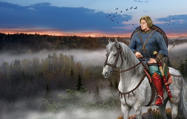Picture Horse, Forest, Sword, Mail, Shield, Ancient Rus, Slavic Warrior